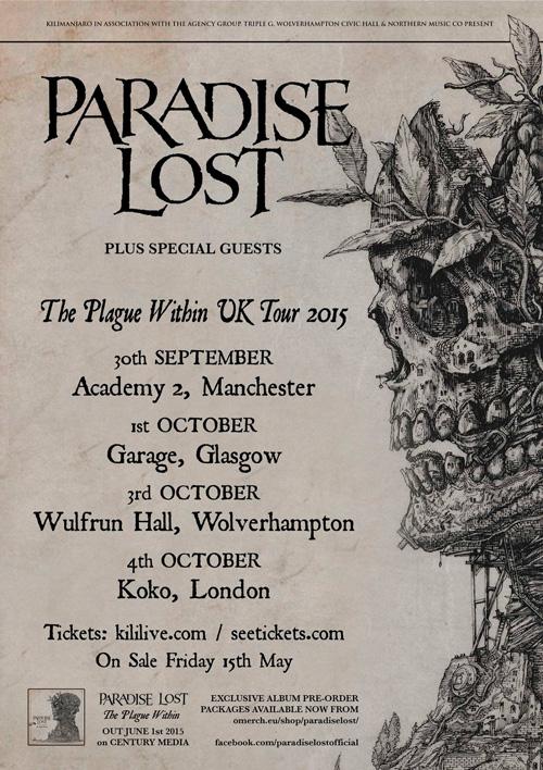 Paradise Lost uk tour 2015