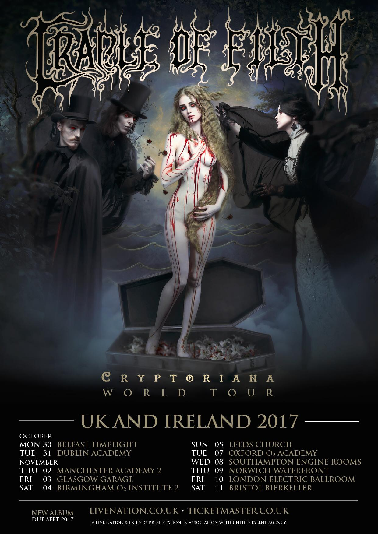 Cradle of Filth UK and Ireland tour 2017