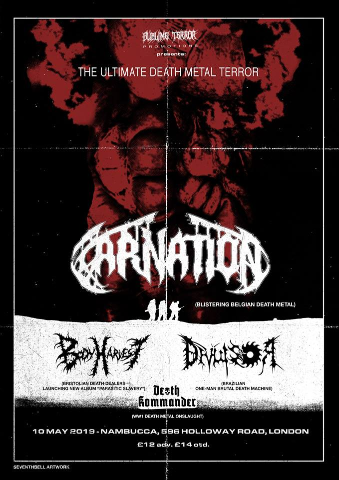 Carnation Body Harvest Death Kommander death metal show London 10th May 2019 gig nambucca