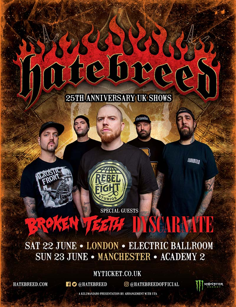 Hatebreed 25th anniversary UK shows London Manchester 2019