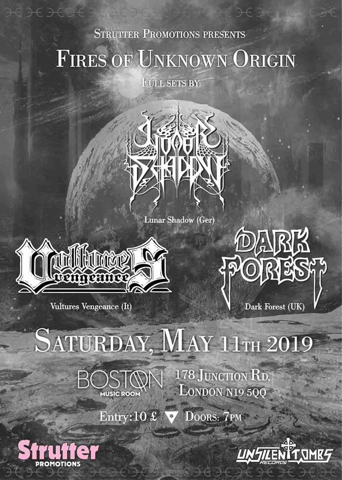 Lunar Shadow Vultures Vengeance Dark Forest Boston Music Room heavy metal gig poster 11th May 2019