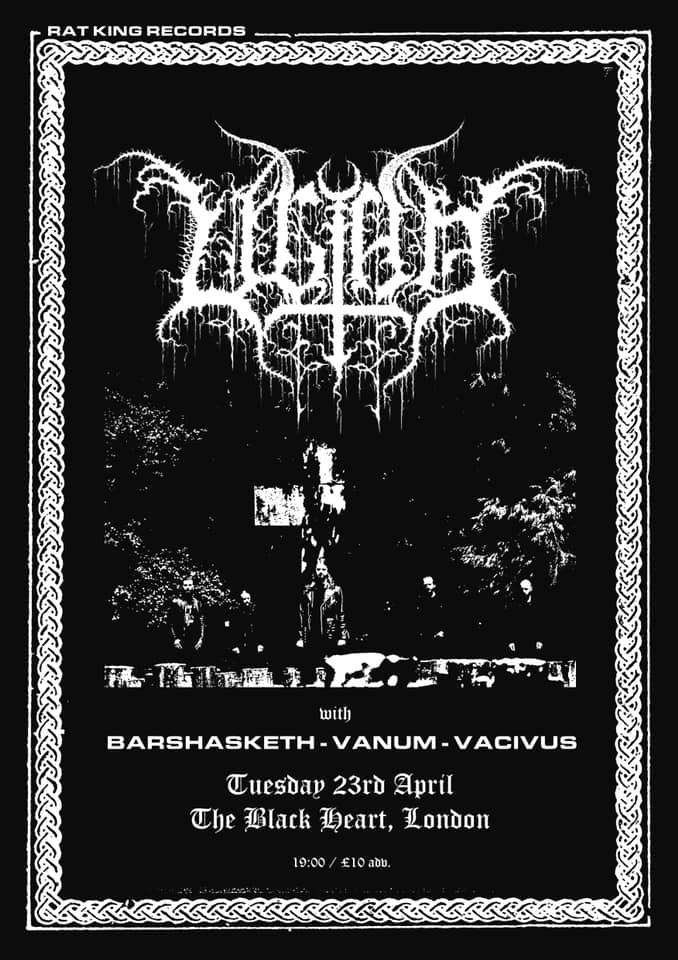 Ultha Barshasketh Vanum Vacivus Black Heart London 23rd APril 2019 gig poster black metal